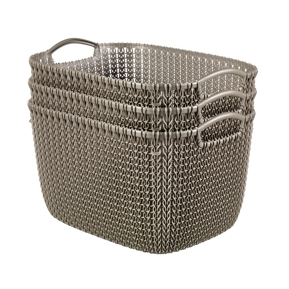 Curver 20 Qt Knit Rectangular Resin Large Storage Basket Set In Harvest Brown 3
