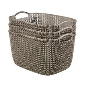 20 Qt. Knit Rectangular Resin Large Storage Basket Set in Harvest Brown (3-Piece)