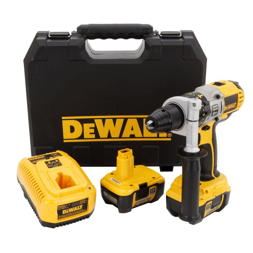 Dewalt 18-volt xrp nicd cordless 1/2 in. Impact wrench kit with (2.