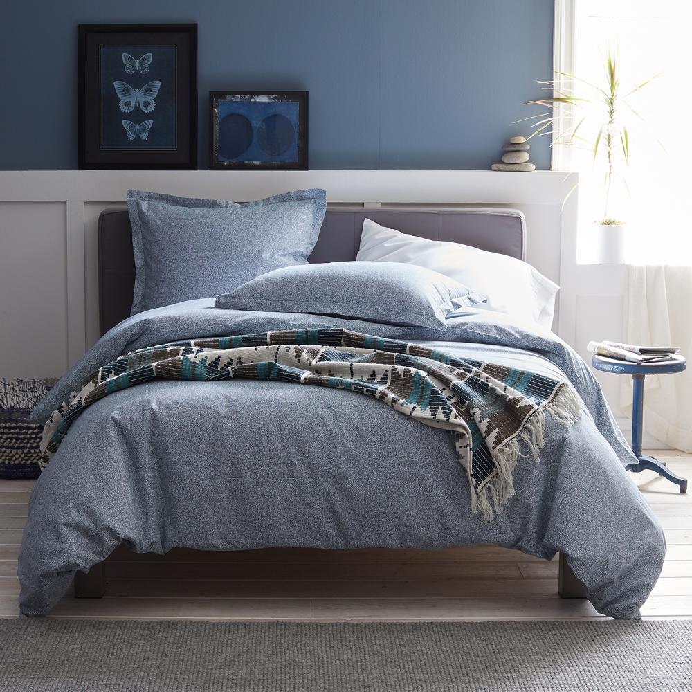Lofthome Maze Denim Blue Geometric Organic Cotton Percale Twin Duvet Cover