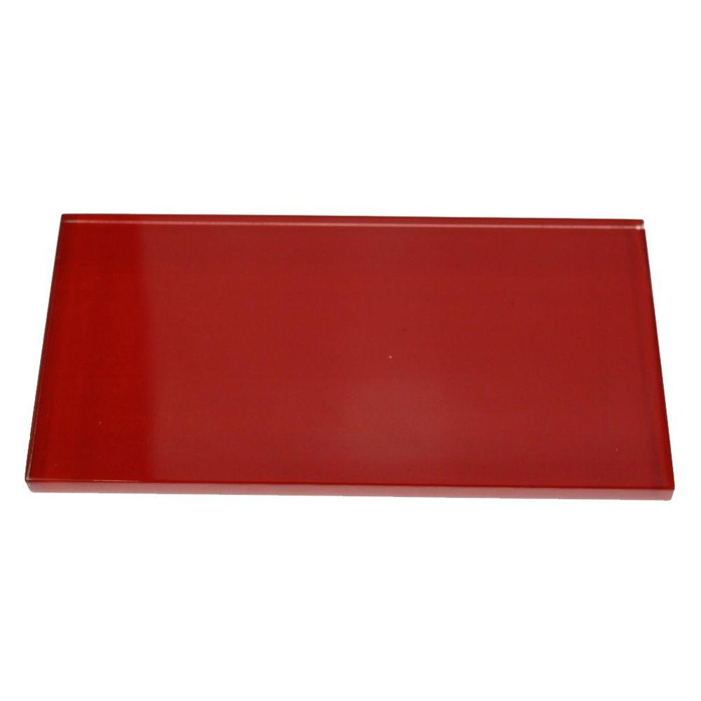 Splashback Tile Contempo Lipstick Red Polished 3 In X 6 8 Mm