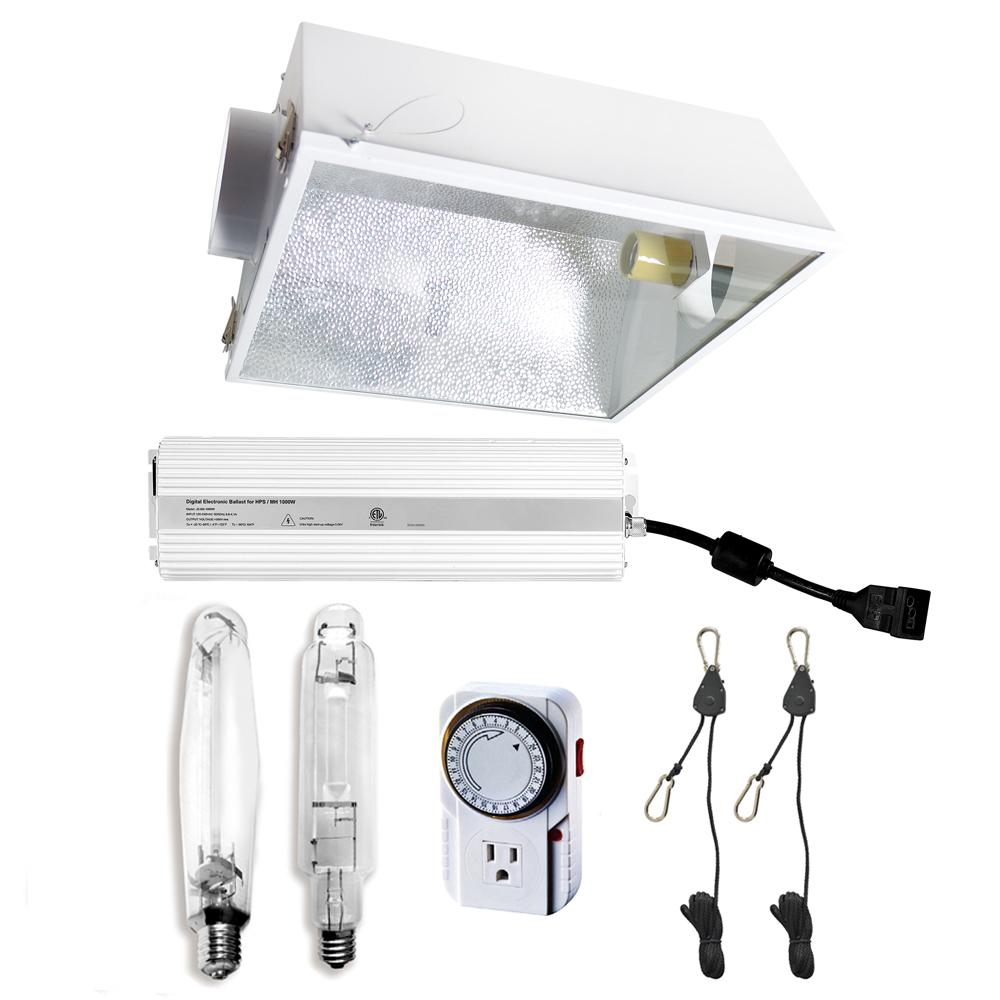 hydro crunch 1000 watt hps mh grow light system with 6 in large air cooled reflector with glass. Black Bedroom Furniture Sets. Home Design Ideas
