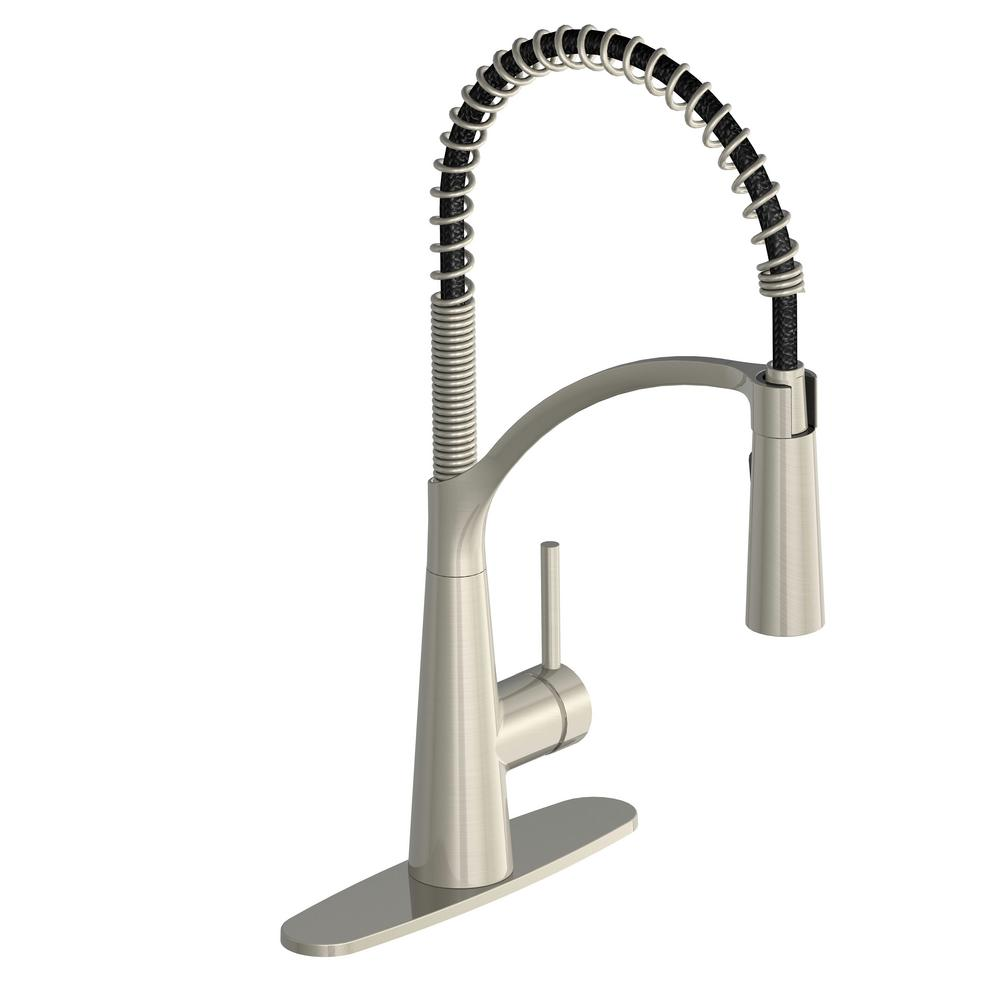 GLACIER BAY Brenner Commercial Style Single-Handle Pull-Down Sprayer Kitchen Faucet in Stainless Finish