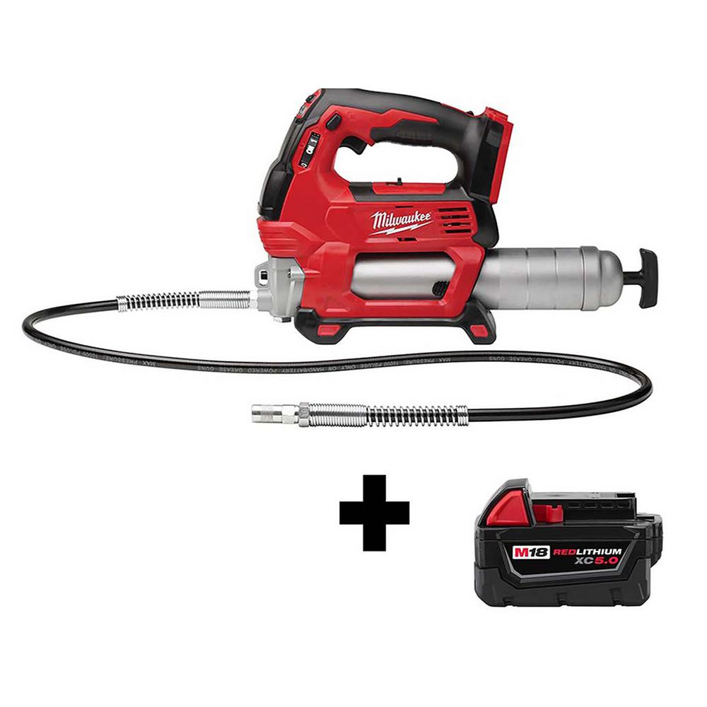 Milwaukee M18 18-Volt Lithium-Ion Cordless Grease Gun 2-Speed with M18 5.0 Ah Battery