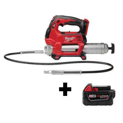 M18 18-Volt Lithium-Ion Cordless Grease Gun 2-Speed with Free M18 5.0 Ah Battery