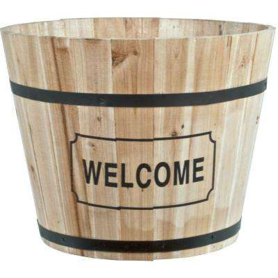 15 in. Wood Barrel Planter with Welcome Decal