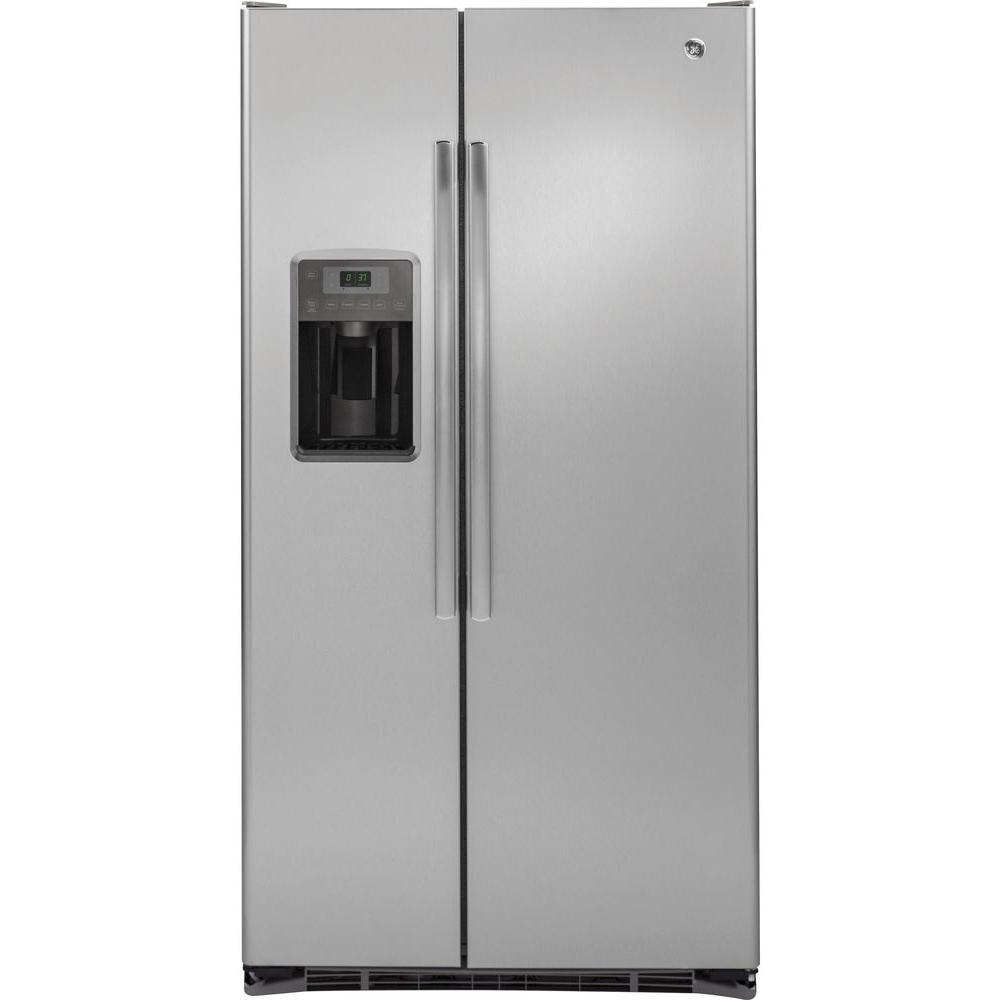 Delicieux GE 36 In. W 21.9 Cu. Ft. Side By Side Refrigerator In Stainless