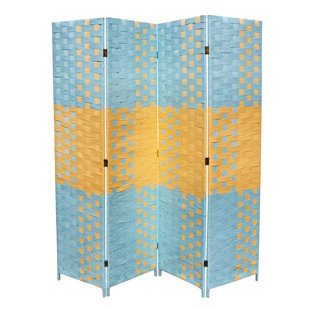 Oreinternational ORE International 5.9 ft. Blue and Tan 4-Panel Room Divider
