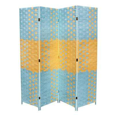 5.9 ft. Blue and Tan 4-Panel Room Divider