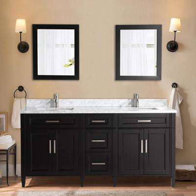 Savona 72 in. W x 22 in. D x 36 in. H Bath Vanity in Espresso with Vanity Top in White with White Basin and Mirror