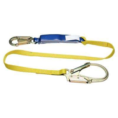 Upgear 6 ft. DeCoil Single Leg Lanyard (DCELL Shock Pack, 1 in. Web, Snap Hook, Rebar Hook)