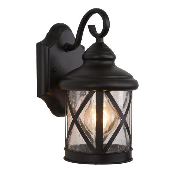 Yosemite Home Decor 1 Light Exterior Wall Lantern Sconce In Black Finish Size 5041bl S The Home Depot