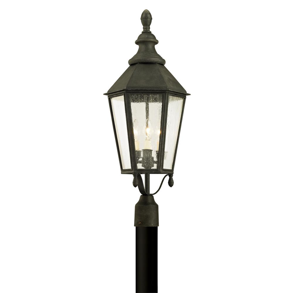 Troy Lighting Savannah 3 Light Vintage Iron 28 75 In H Outdoor Post Light With Clear Seeded Glass