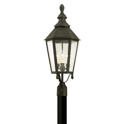 Savannah 3-Light Vintage Iron 28.75 in. H Outdoor Post Light with Clear Seeded Glass