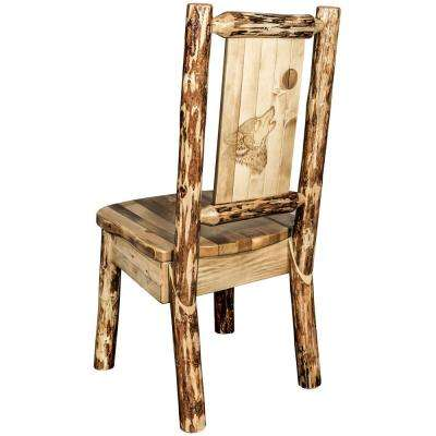 Glacier Brown Wooden Laser Engraved Wolf Motif Side Chair