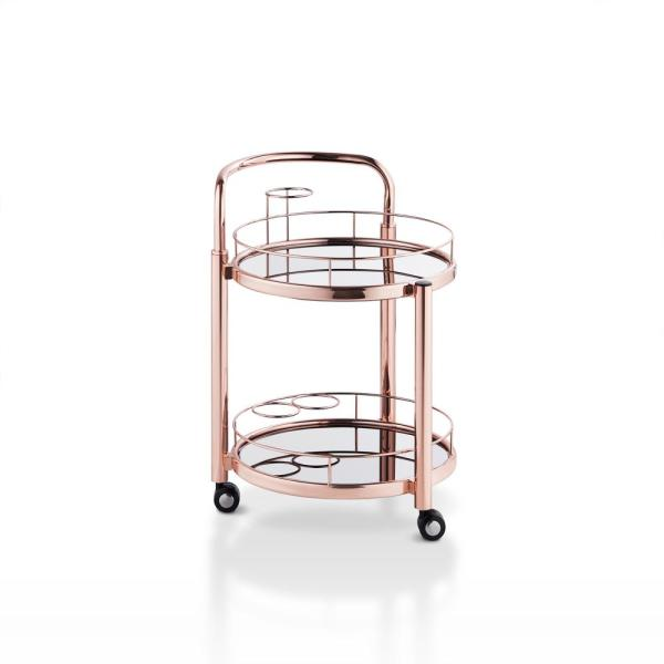 Orkla Rose Gold Bar Cart with 3-Bottle Holder