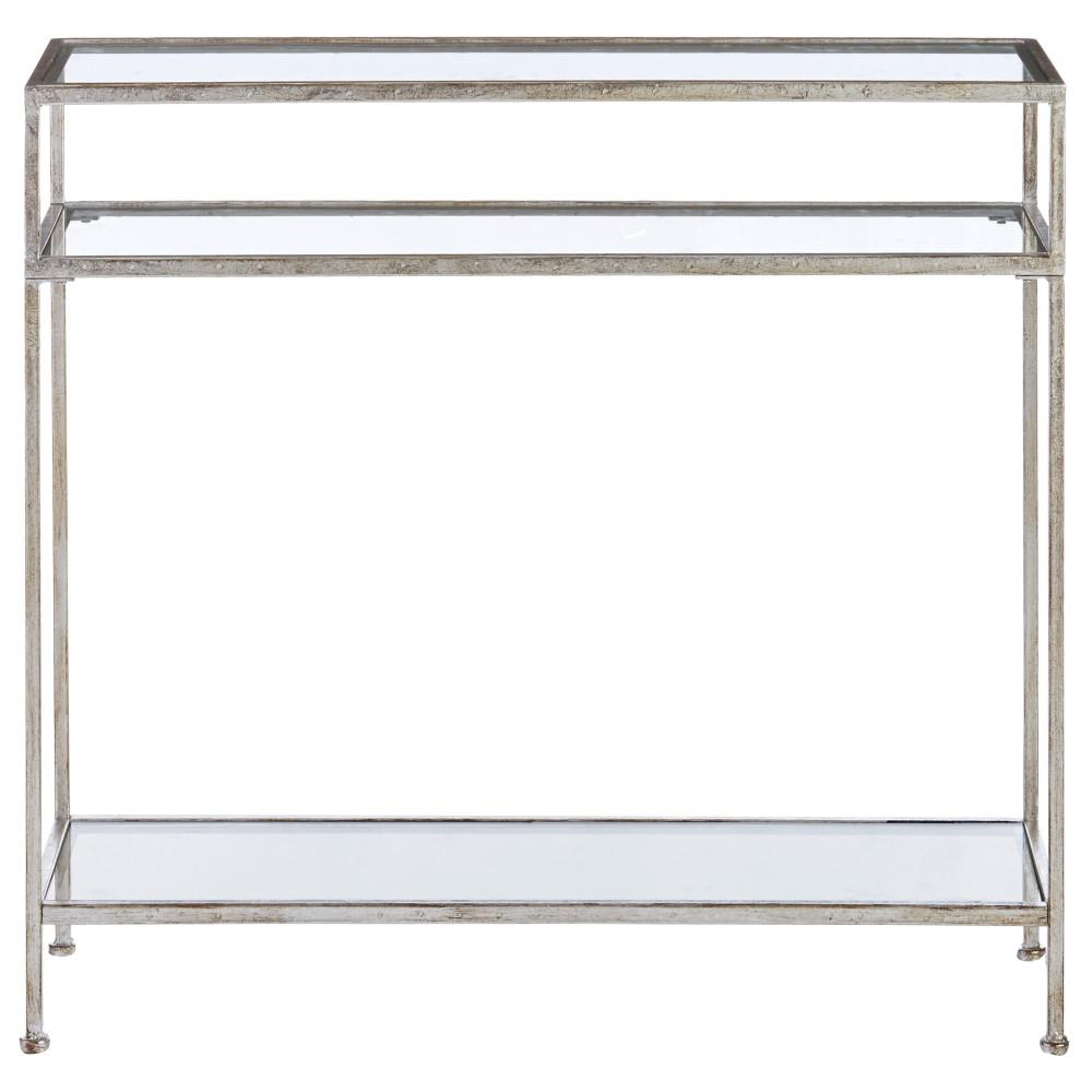 Bella Aged Silver Narrow Glass Console Table