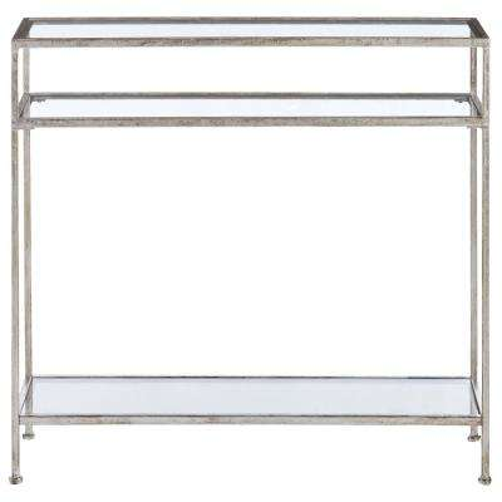 Bella Aged Silver Narrow Glass Console Table