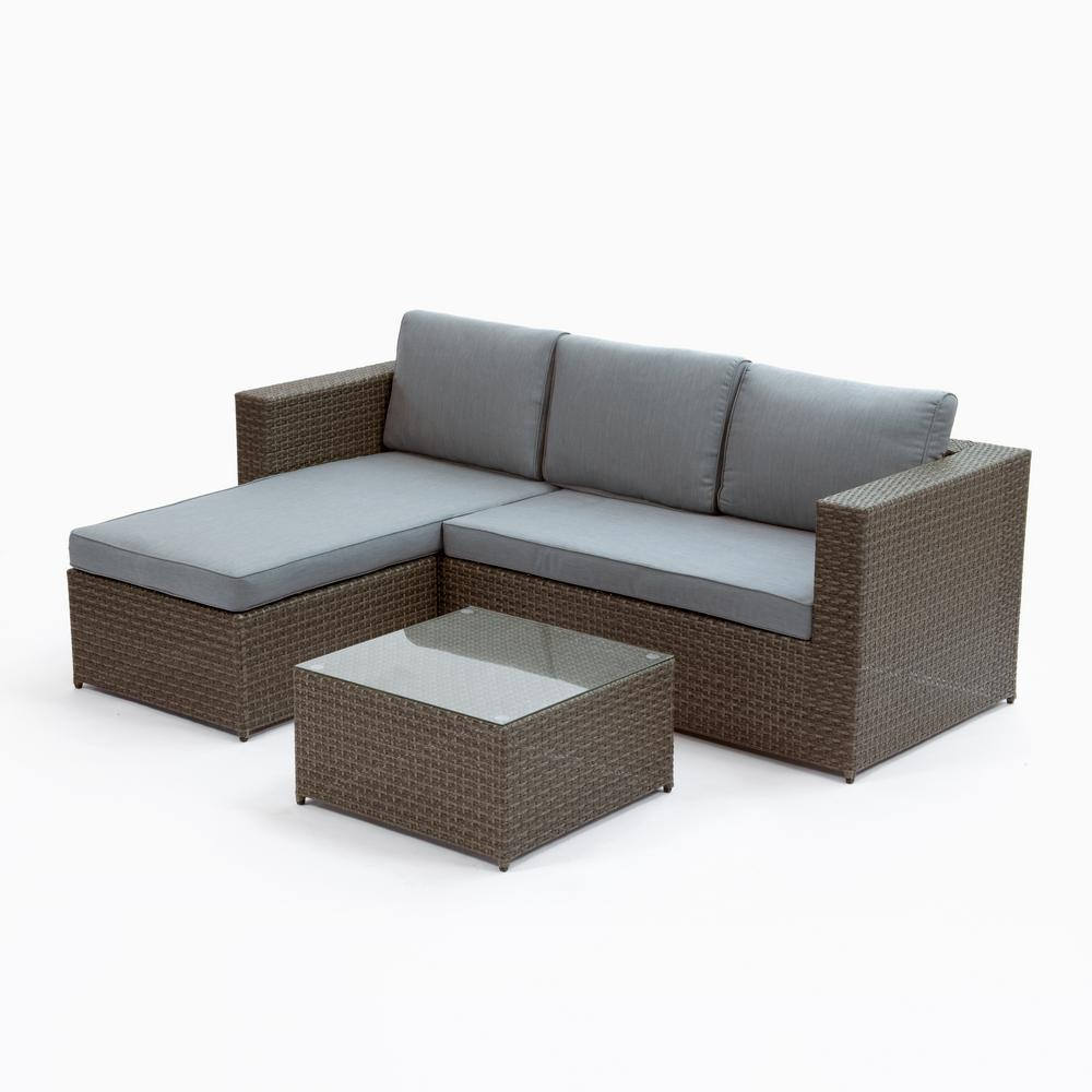 Cayo Coco Brown 3-Piece Plastic Outdoor Sectional Set with Grey Cushions
