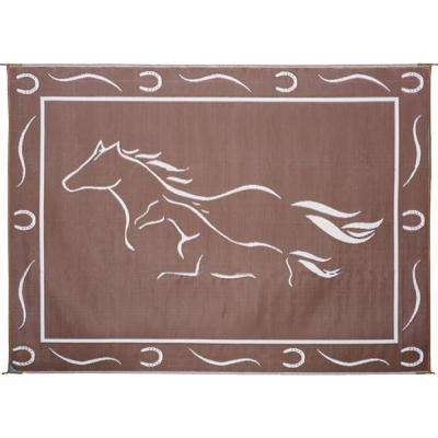 8 ft. x 18 ft. Brown/White Galloping Horses Reversible Mat