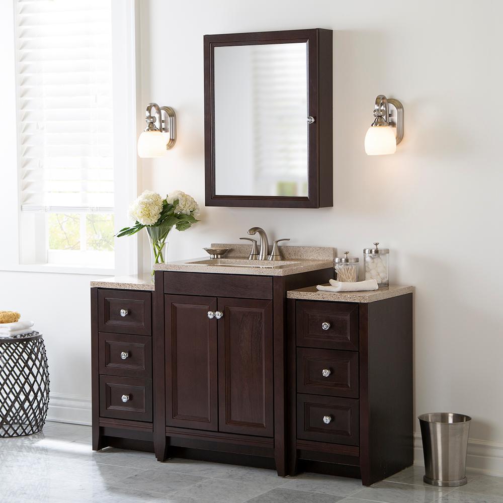 Delridge Bath Suite with 24 in. W Bathroom Vanity, Vanity Top, and 2 Linen Towers in Chocolate