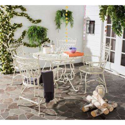 Thessaly Antique White 5-Piece Metal Outdoor Dining Set