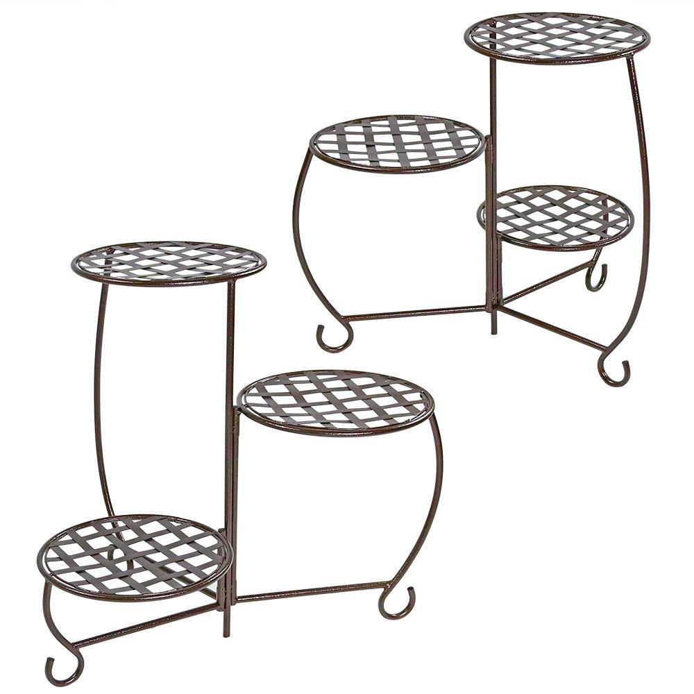 Sunnydaze Decor Checkered Bronze Metal Planter Stand (2-Pack)