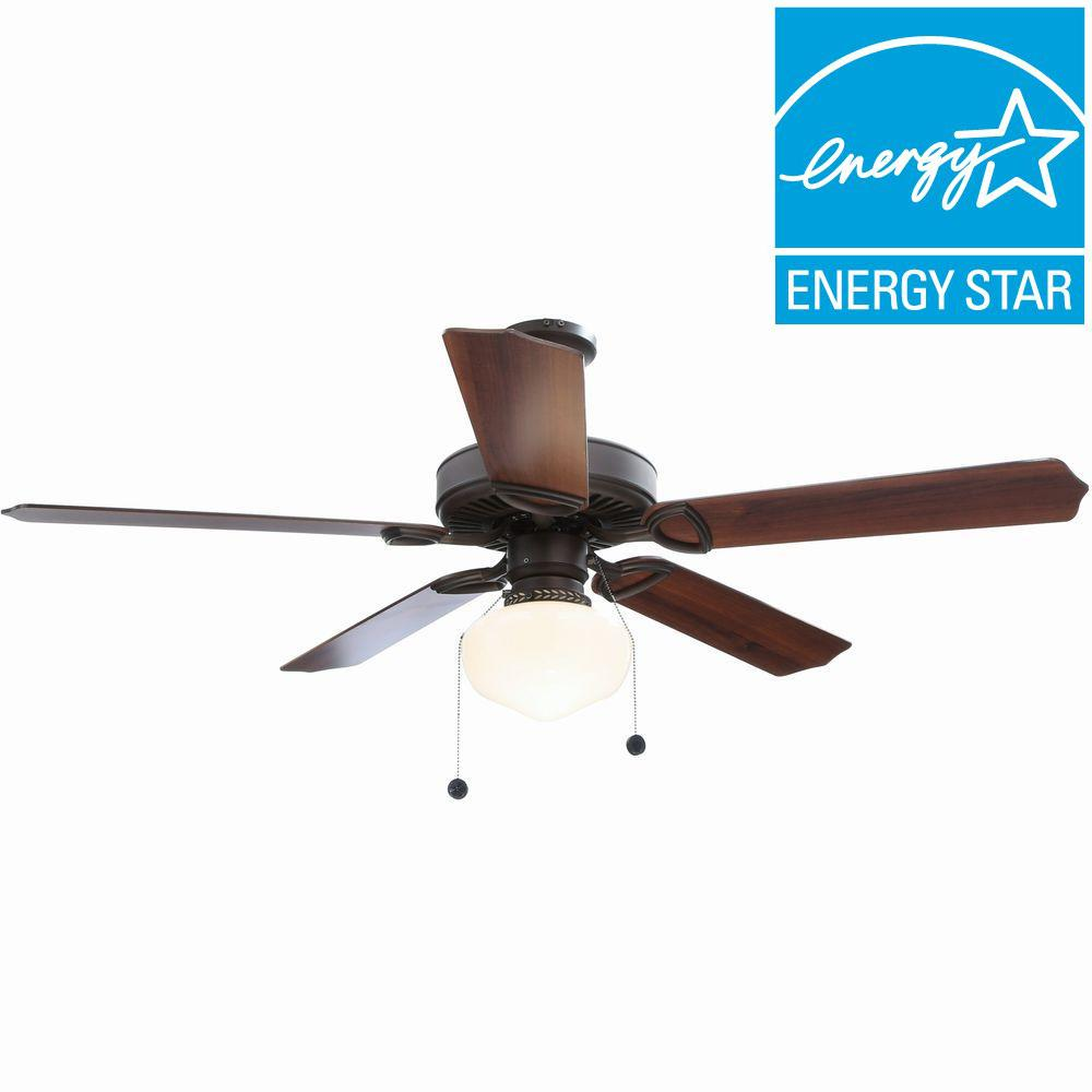 Hampton Bay Tri-Mount 52 in. Indoor Oil Rubbed Bronze Ceiling Fan with Light Kit