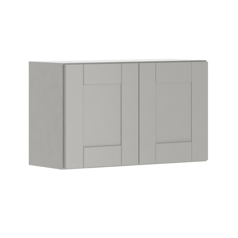 Princeton Shaker Assembled 30x18x12 in. Wall Bridge Cabinet in Warm Gray