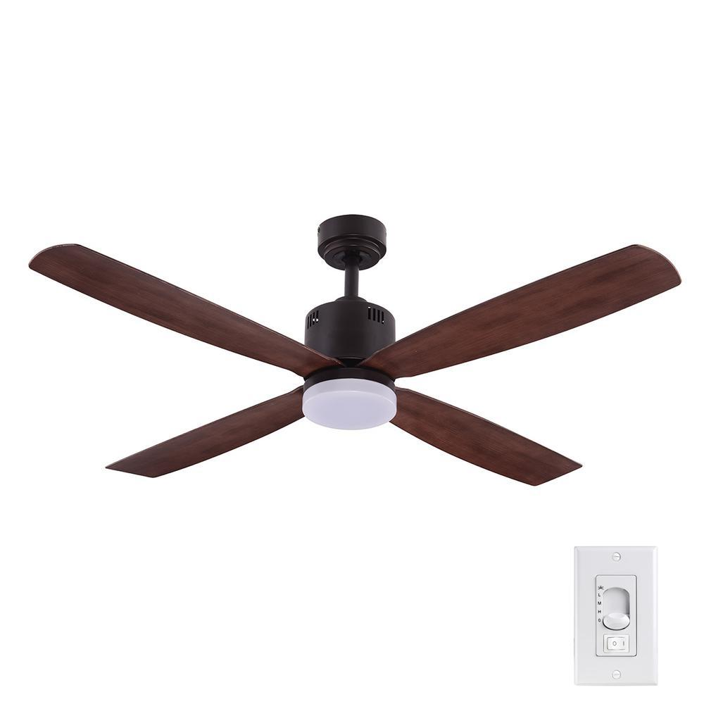 Home Decorators Collection Kitteridge 52 in. LED Indoor Medium Wood Ceiling Fan with Light Kit
