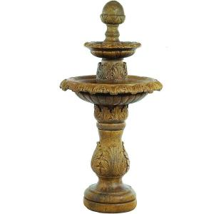 Athens Stonecasting 2 Tier Acorn Leaf Fountain by Athens Stonecasting