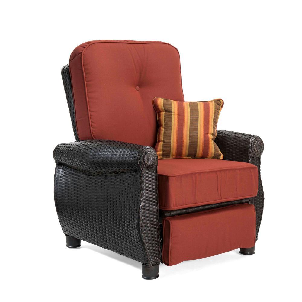 La Z Boy Breckenridge Wicker Outdoor Recliner With Sunbrella Meredian Brick Cushion