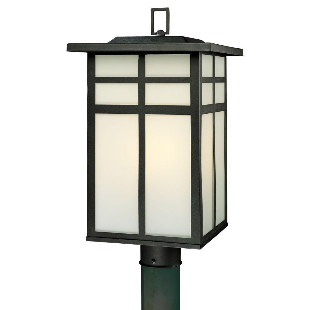 Thomas lighting post lighting outdoor lighting the home depot mission 3 light outdoor black post lantern aloadofball Image collections