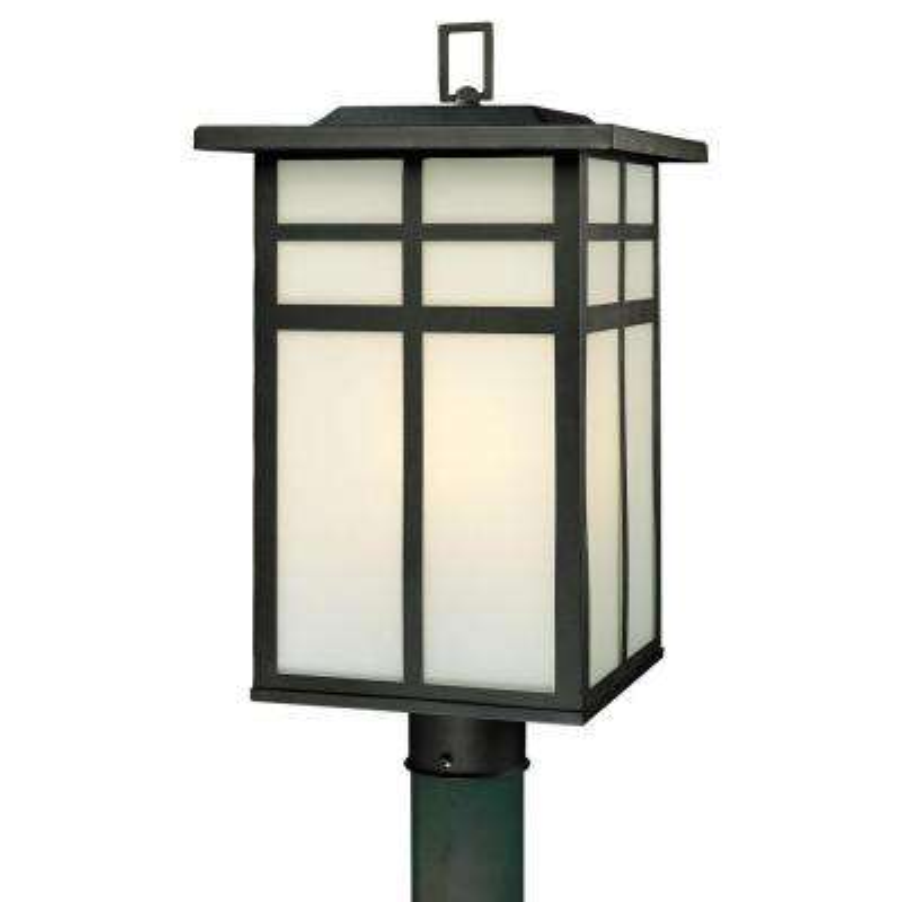 Mission 3-Light Outdoor Black Post Lantern