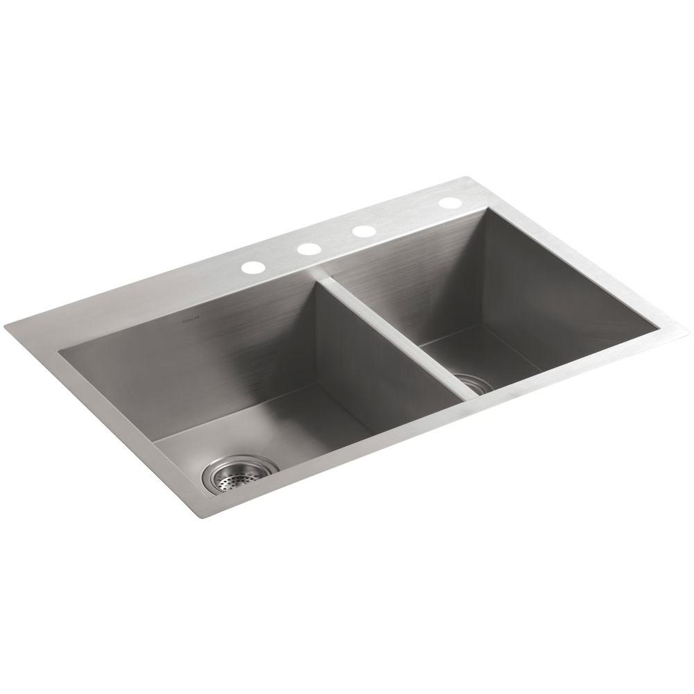 Merveilleux KOHLER Vault Dual Mount Stainless Steel 33 In. 4 Hole 60/40 Double