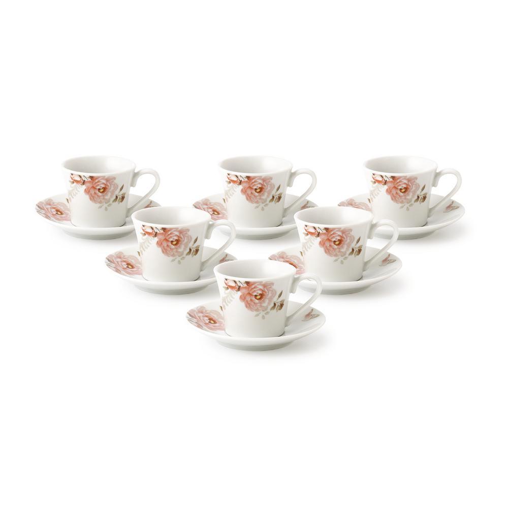 Lorren Home 2 oz.Porcelain Espresso Set-6 Pink Floral and Butterfly Design
