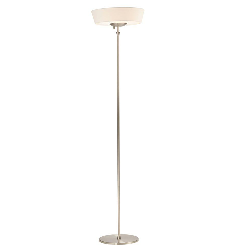 Harper 71 in. Satin Steel Floor Lamp with White Shade