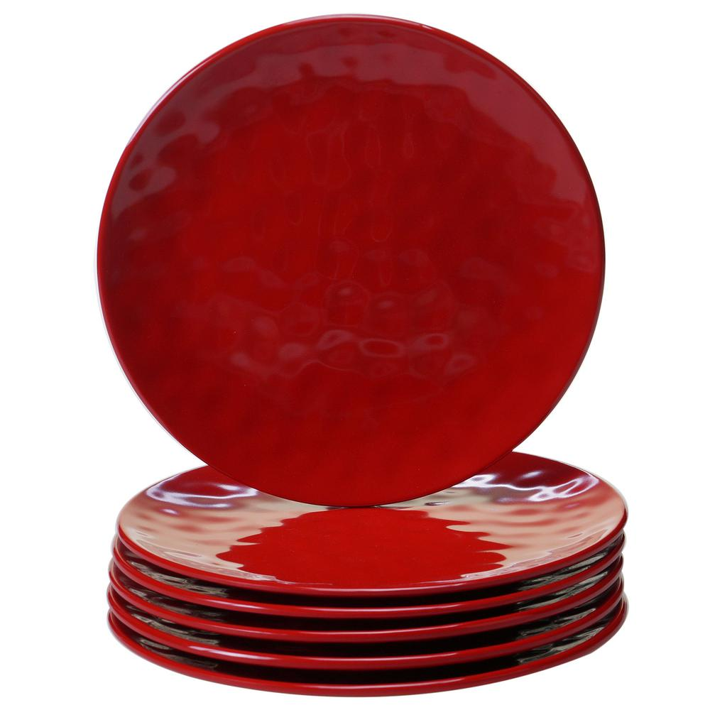 6-Piece Red Salad Plate Set