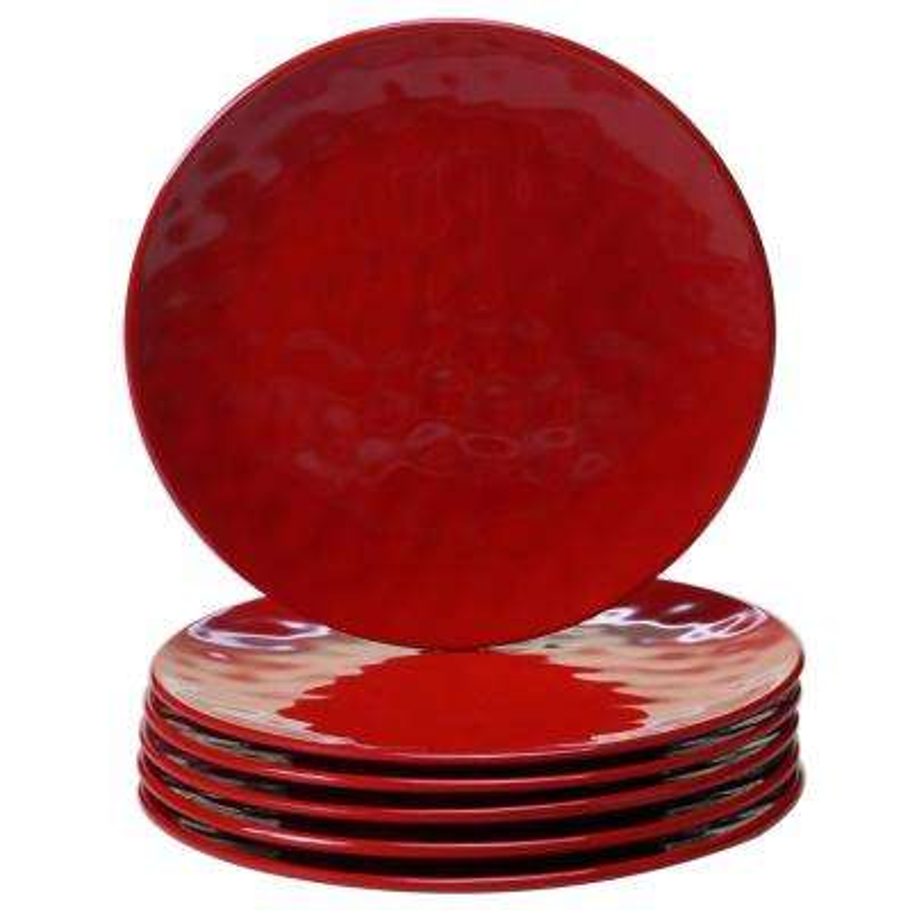 6-Piece Red Salad Plate Set