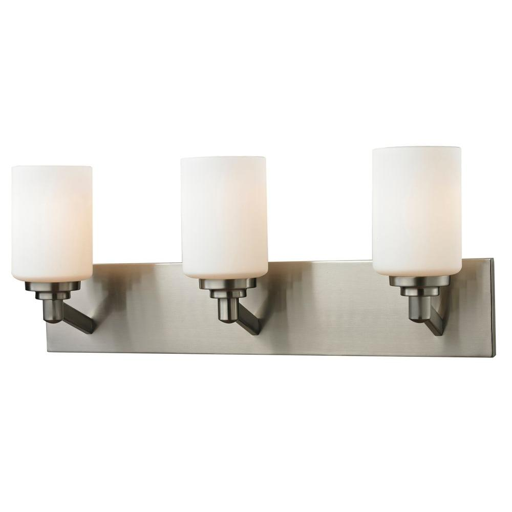 Polished Nickel Bathroom Vanity Light: Filament Design Chic 3-Light Brushed Nickel Bath Vanity