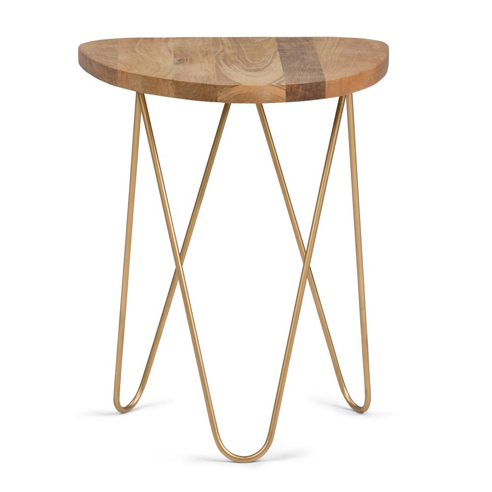 Patrice Natural and Gold Metal/Wood Accent Table