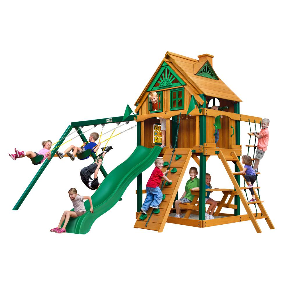 Gorilla Playsets Chateau Treehouse Wooden Swing Set with Fort Add-On, Timber ShieldPosts, and Rock Climbing Wall