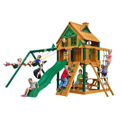 Chateau Treehouse Wooden Playset with Fort Add-On, Timber ShieldPosts, and Rock Climbing Wall