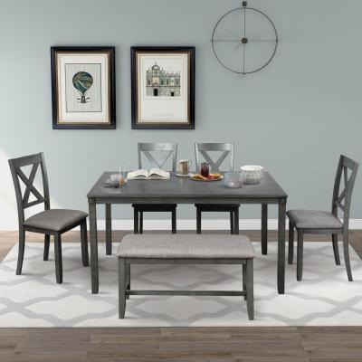 6-Piece Gray Wooden Dining Set with Chairs and Bench