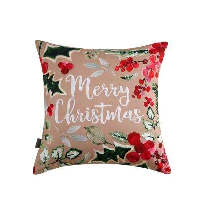 Merry Christmas Reversible 20 in. x 20 in. Decorative Pillow