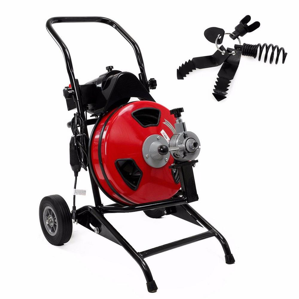 stark 550 watt commercial sewer snake drain auger cleaning machine with 100 ft reinforced cable. Black Bedroom Furniture Sets. Home Design Ideas