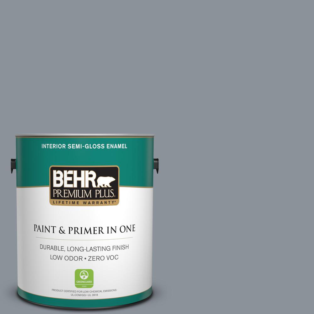 BEHR Premium Plus 1-gal. #ECC-34-2 Boulder Creek Zero VOC Semi-Gloss Enamel Interior Paint