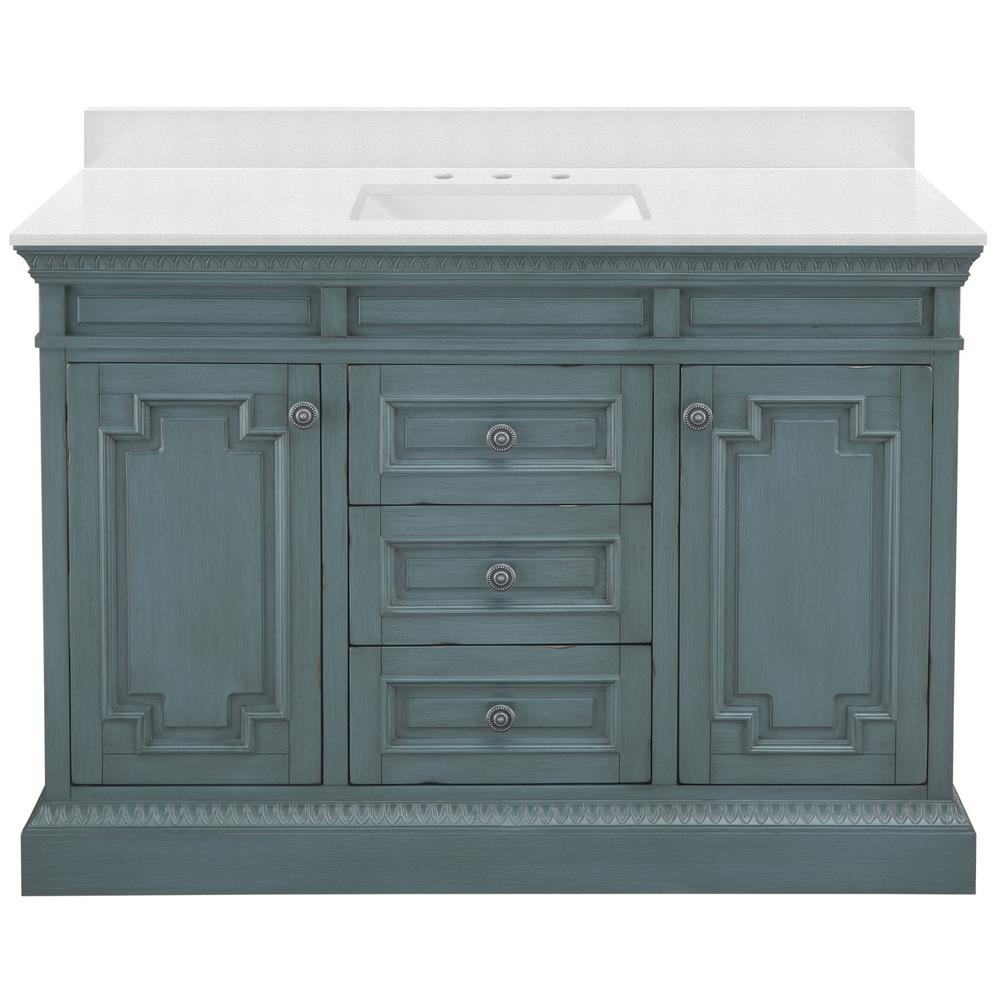 Home Decorators Collection Cailla 49 in. W x 22 in. D Vanity in Distressed Blue Fog with Engineered Marble Vanity Top in Snowstorm with White Sink