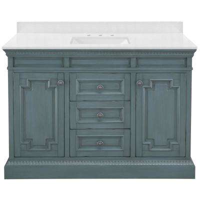 Cailla 49 in. W x 22 in. D Vanity in Distressed Blue Fog with Engineered Marble Vanity Top in Snowstorm with White Sink