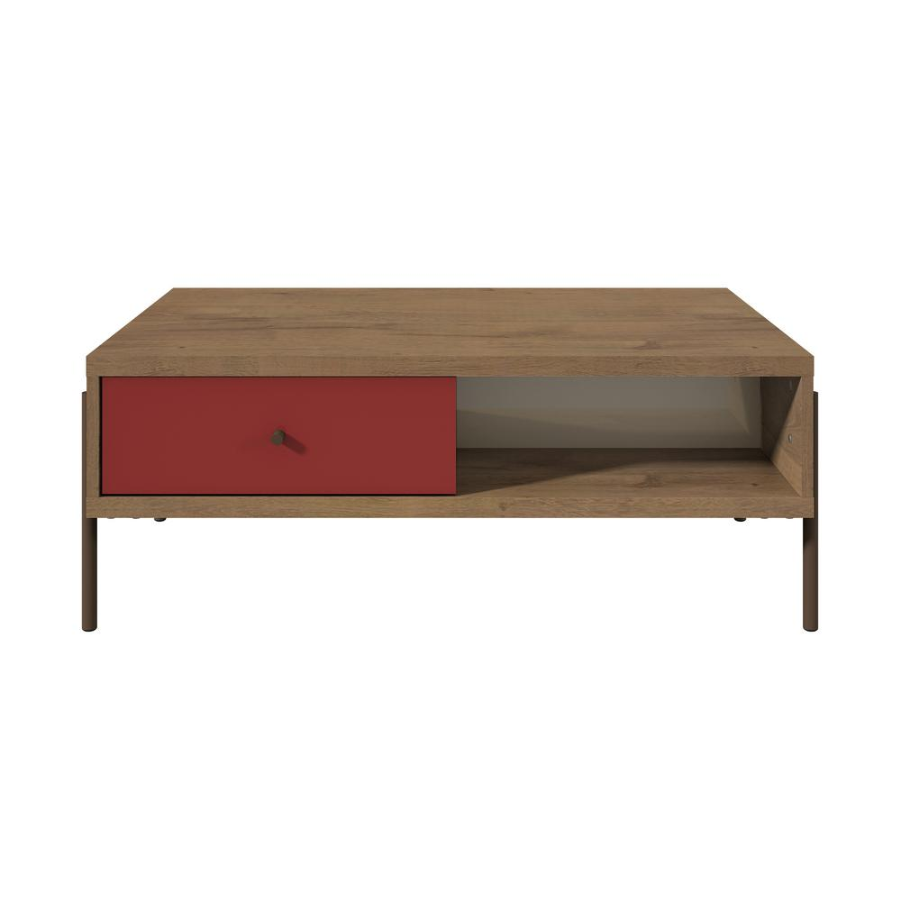 Manhattan Comfort Joy 2 Drawer Red And Off White Double Sided End Table